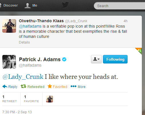 Twitter - halfadams- @Lady_Crunk I like where your ...