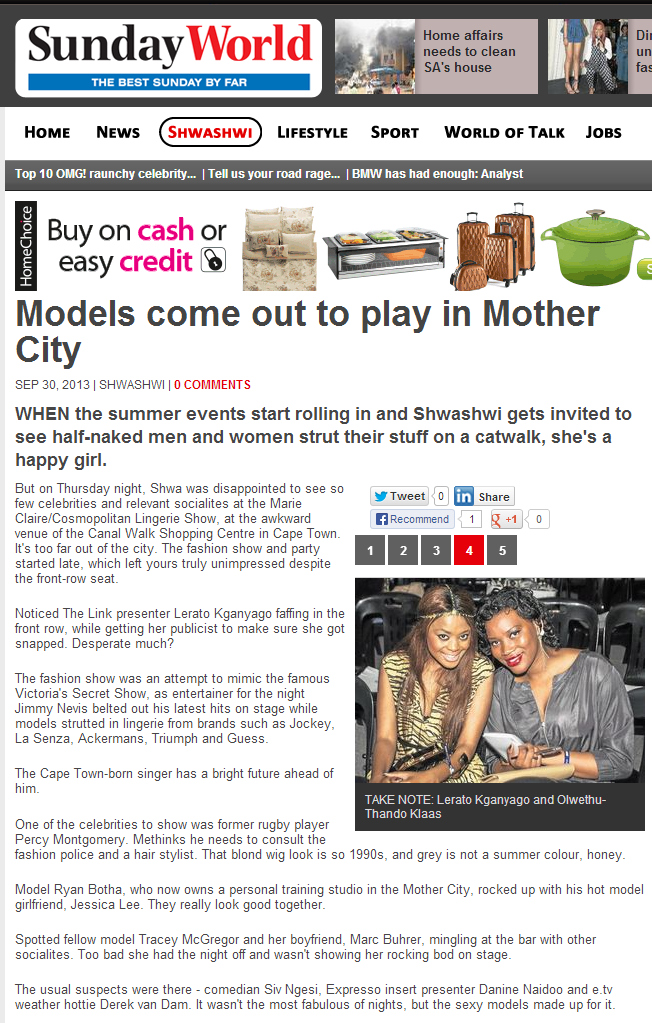 Models come out to play in Mother City - SundayWorld