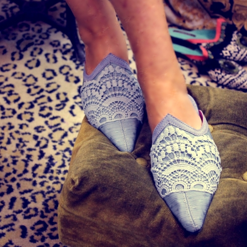 Silk and Lace in-house or regular outdoor slipper, with a full sole and heel.