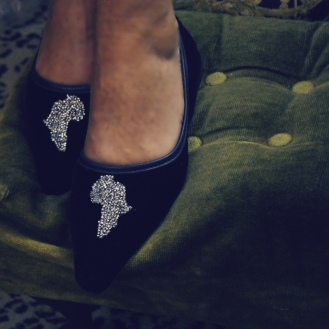 Velvet Slipper Shoe with Swarovski Crystals in shape of continent of Africa.