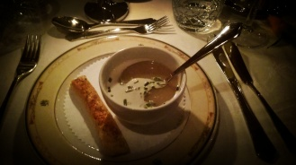 Sweet potato and lychee soup with peanut butter cream and a savory crouton